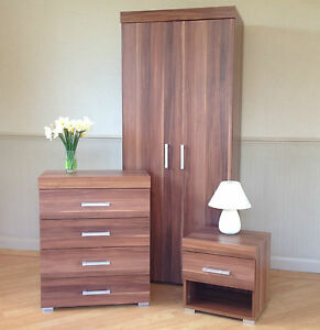 3 Piece Walnut Effect Bedroom Set Wardrobe 4 Drawer Chest Bedside Table New Ebay