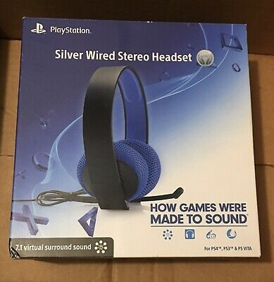 Sony Silver Wired Stereo Headset PS3, PS4, PS Vita, PlayStation TV, Apple & PC