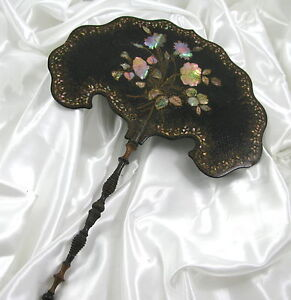 ANTIQUE VICTORIAN PAPIER MACHE & MOP FACE SCREEN/FANS c1840-70's