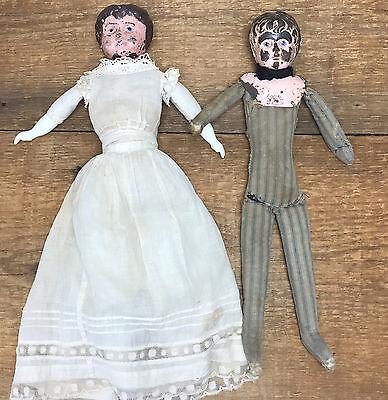 *RARE* Antique Vintage German Minerva Tin Head Dolls Set Boy Girl Early 1900