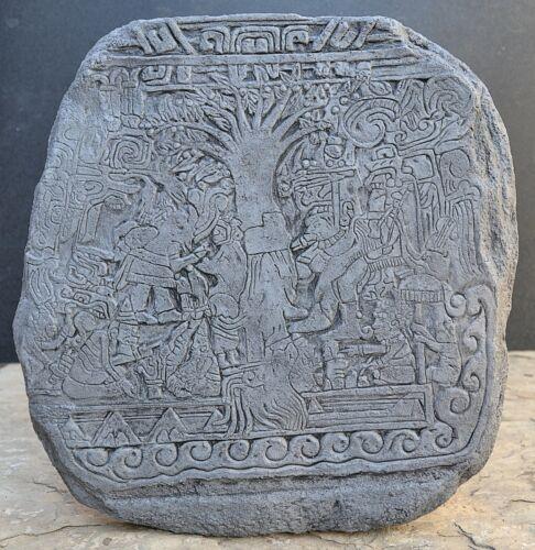 "Aztec Mayan Stele 5 Tree Of Life Izapa Olmec Sculpture  14"""