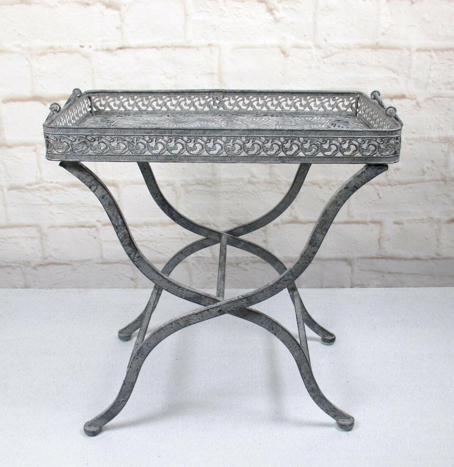 Beistelltisch Eisen Tisch Grau Antikstil Balkon Terrasse ...