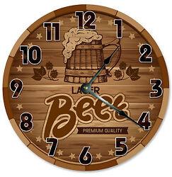 BEER CLOCK Large 10.5 inch Wall Clock BARREL CASKET CRATE printed wood 2198