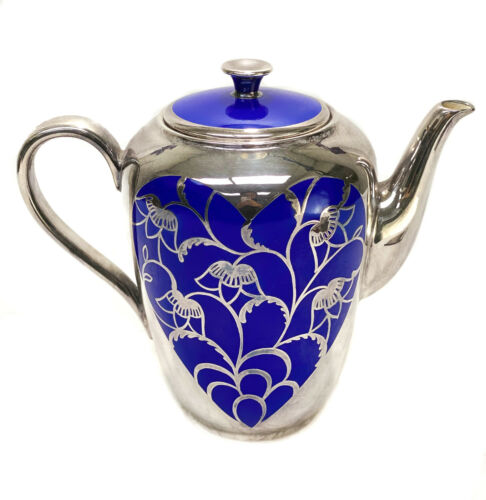 H&Co Selb Bavaria Porcelain and Silver Overlay Cobalt Blue Coffee Pot, c1950