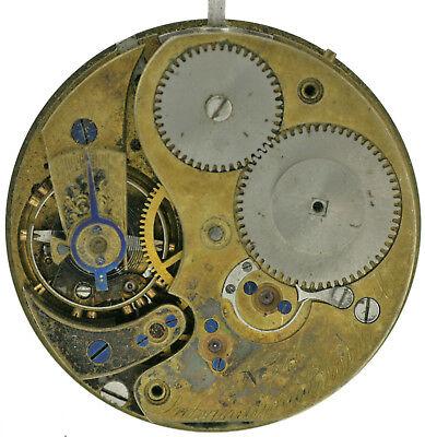 IWC frühes Werk 1A Taschenuhrwerk mit Zifferblatt extrem selten, vor 1865  Ø43mm
