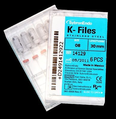 Dental Endo Stainless Steel Root Canal Sybron Hand Use K-files 15-80 2521mm