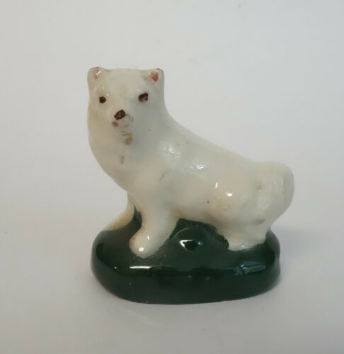 ANTIQUE VINTAGE SPITZ DOG WHITE PUPPY CERAMIC POTTERY GLAZED FIGURINE