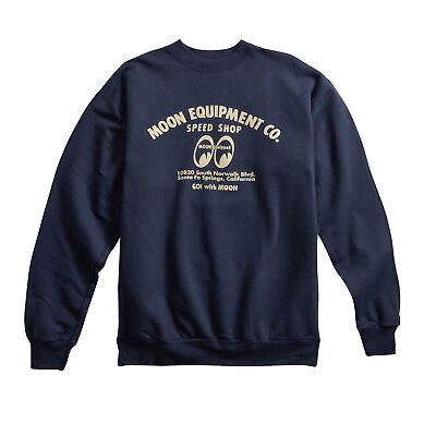 Moon Crewneck Sweatshirt (Men's Mooneyes Moon Equipped Beige Logo Navy Blue Crew Neck Sweatshirt MQS010NY )