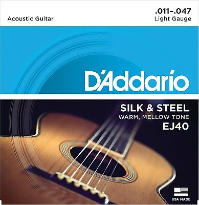 D'Addario EJ40 Silk Steel Acoustic Guitar Strings Folk -