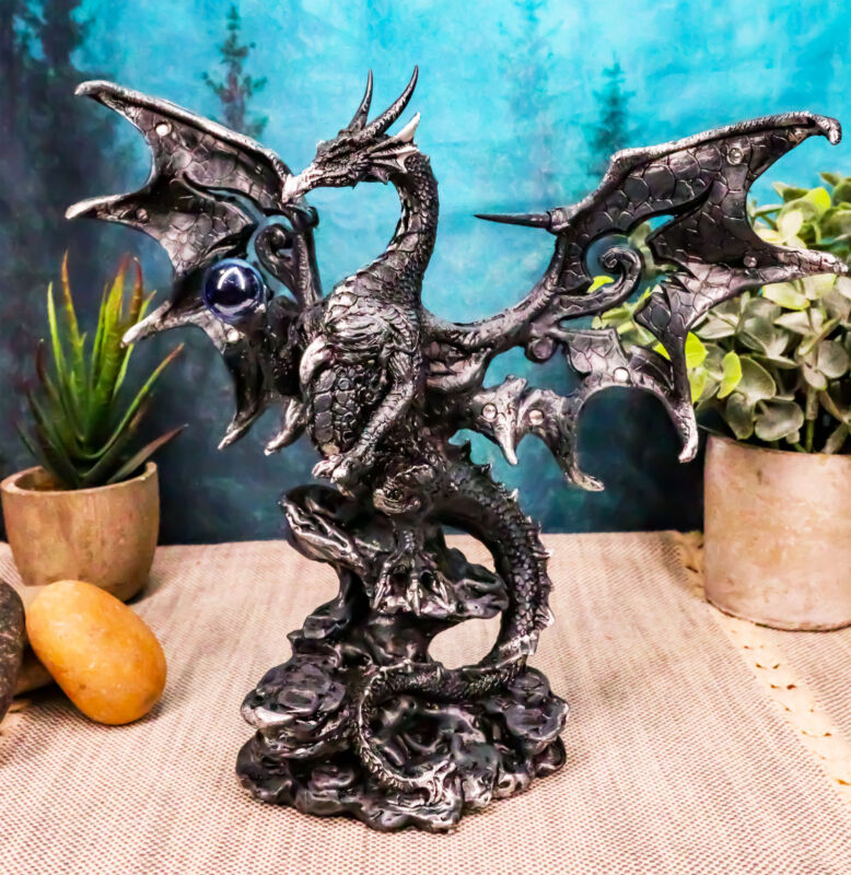 """Draco Fantasy Gothic Dragon With Blue Orb Statue 8"""" Tall Land Of The Dragons"""