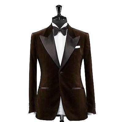 Hombre Terciopelo Marrón Blazer Diseñador Novios Boda Esmoquin Informal Abrigo