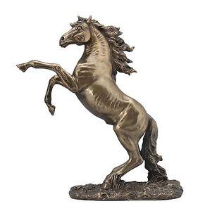 Pferd bäumt sich auf Hengst Pferde Skulptur Statue Deco Figur bronziert 708-6028