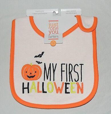 Neu Unisex Baby Carter's Mein Erstes Halloween Latz Bat Jack O Lantern Trick