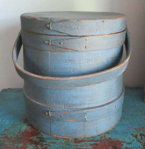 "9 5/8""-Firkin/Sugar Bucket/Wooden Blue Paint-Pantry Box/Shaker-Primitive"