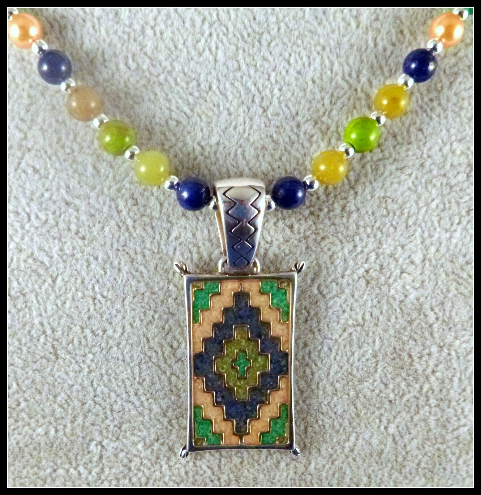 Carolyn Pollack Sterling Navajo Rug Design PENDANT By Relios, 22 Bead Necklace - $62.00
