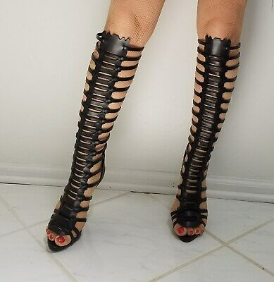 4 1/2 inch high heels stiletto gladiator knee high sandals shoes, s.6 ()