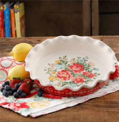 """9"""" Vintage Floral Pie Plate Scalloped Edge Stoneware The Pioneer Woman"""
