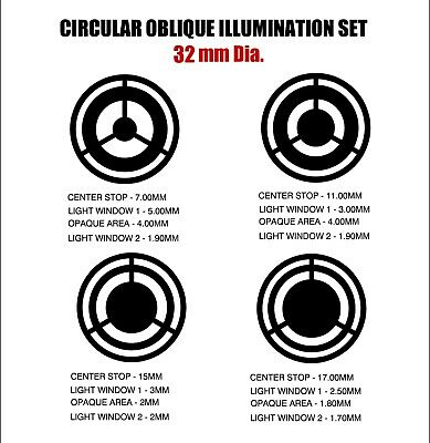 32mm Circular Oblique Illumination Col Microscope Filter Set