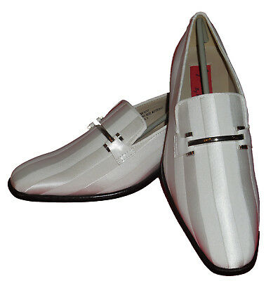 Expressions 6757 Mens White Fancy Buckle Tuxedo Slip On Dress Loafers - White Fancy Shoes