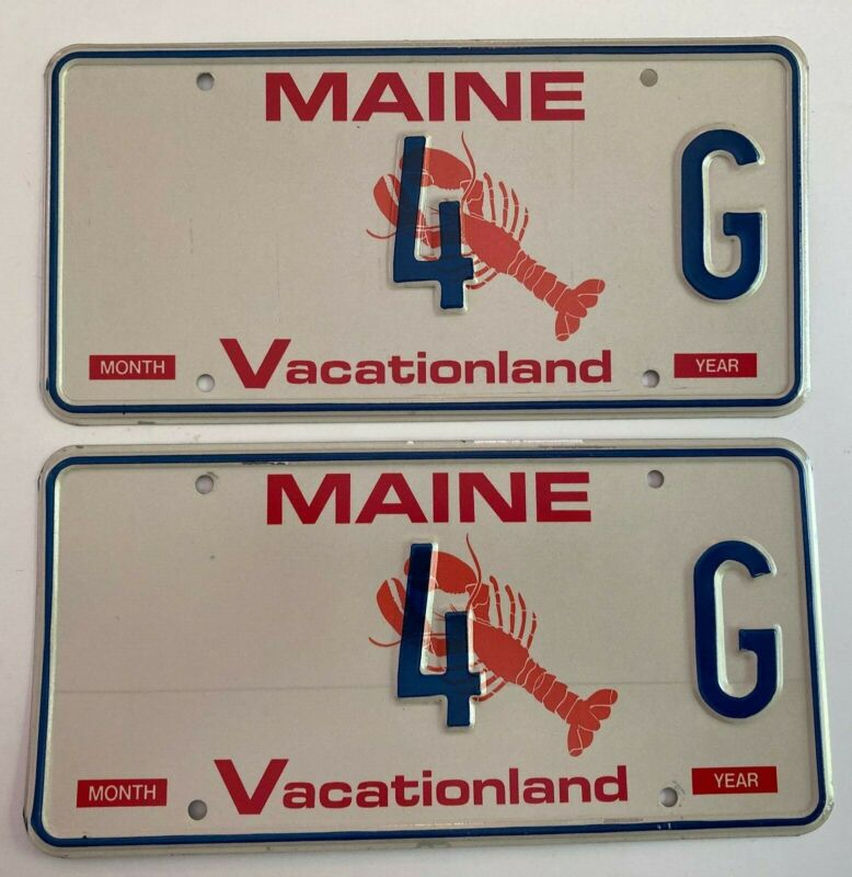 1990s Maine Lobster License Plate PAIR Plates Low Number 4G MINT/NOS