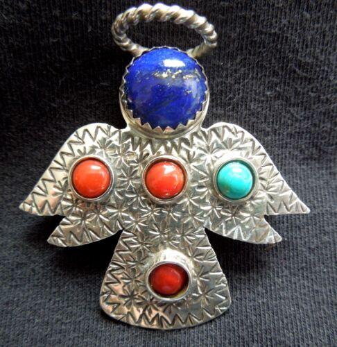 ANGEL Pin / Pendant* Lapis Coral Turquoise* BRAD PANTEAH* Zuni Navajo *FREE SHIP