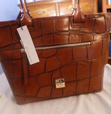 New Dooney & Bourke Cognac Brown Croco Leather Zip Tote Large Satchel Purse $368