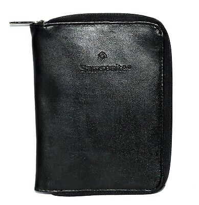 Samsonite Black Leather Passport Holder Credit Card Zip Around Travel Wallet