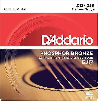 1 Set D'Addario EJ17 Acoustic Guitar Strings Medium EJ17 NEW