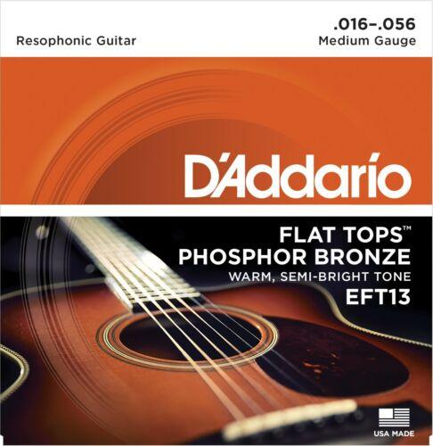 D'Addario EFT13 Flat Tops Resophonic Guitar Strings Phosphor Bronze 15-56