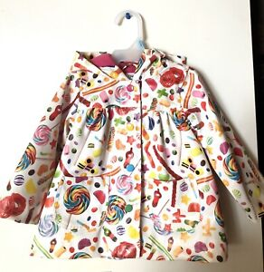 12 Month Size White Rainbow Candy Patterned Raincoat
