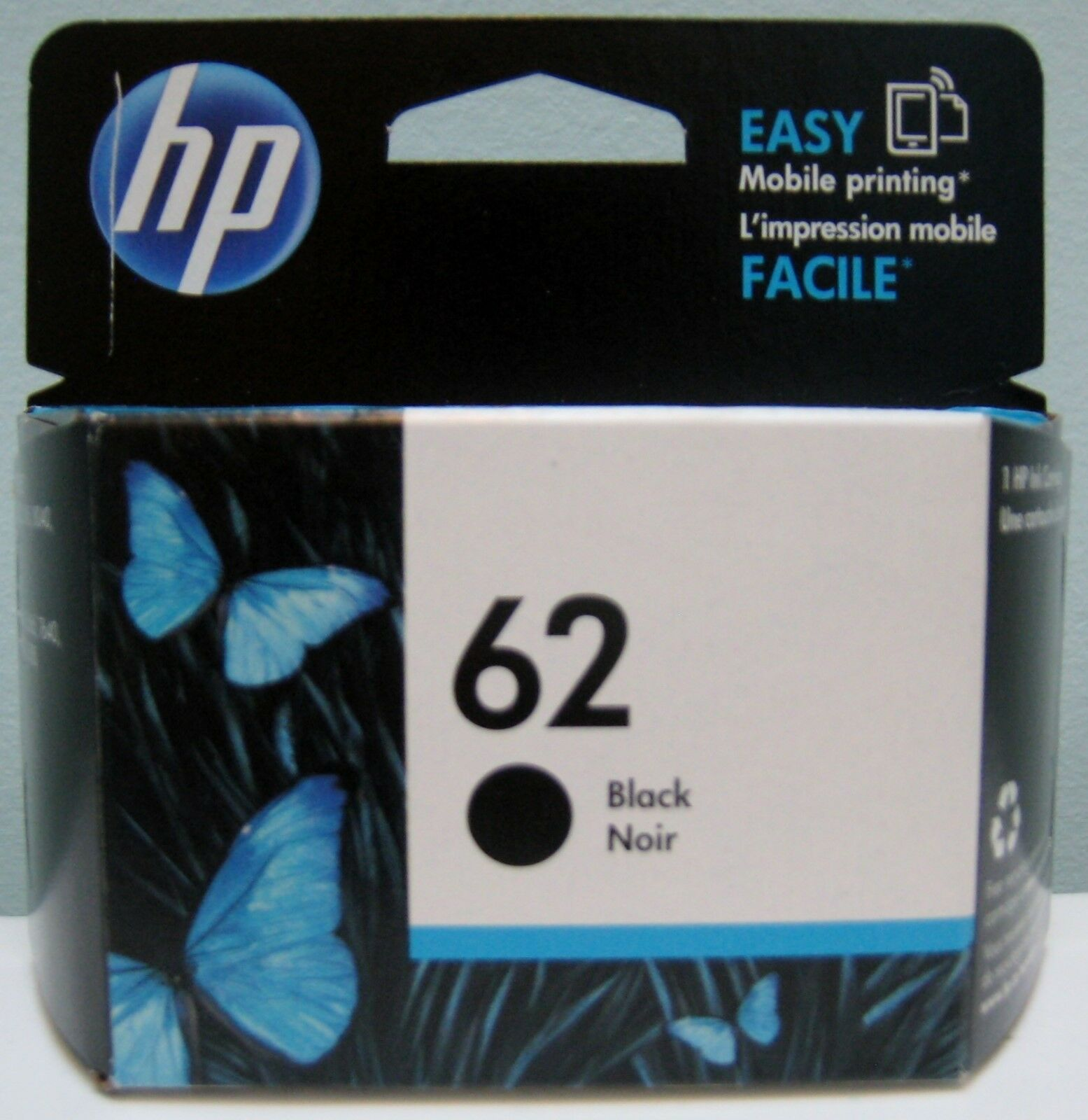 genuine hp 62 c2p04an black ink cartridge new in box. Black Bedroom Furniture Sets. Home Design Ideas