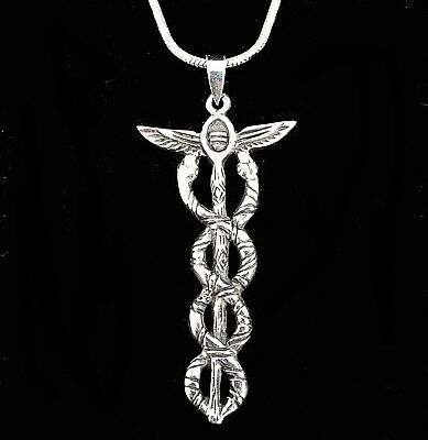 Handcrafted Solid 925 Sterling Silver CADUCEUS Medical Pendant HERMES