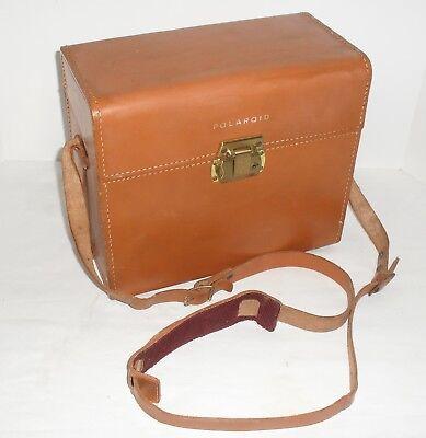 Vtg Polaroid Genuine Leather Land Camera Hard Side Case w/ Shoulder Strap Tan