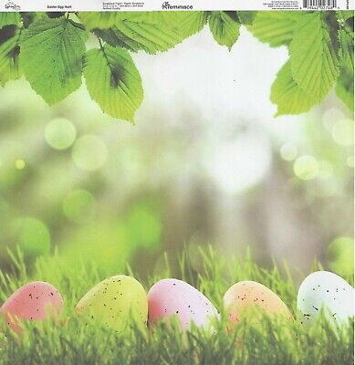 REM- Easter Egg Hunt Scrapbooking Paper 12x12 SPR005 Green Grass](Easter Paper)
