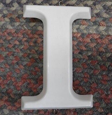 Vtg  White Plastic Hanging Letter I Store Sign Spell Out Alphabet 8 3 4  Capital