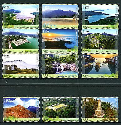Hong Kong 2016 MNH Hiking Pt I Lantau Trail 12v Set Tourism Landscapes Stamps