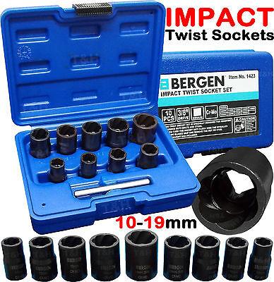 BERGEN IMPACT Twist Socket Set Locking Wheel Nut Remover Nut Bolt Stud Extractor
