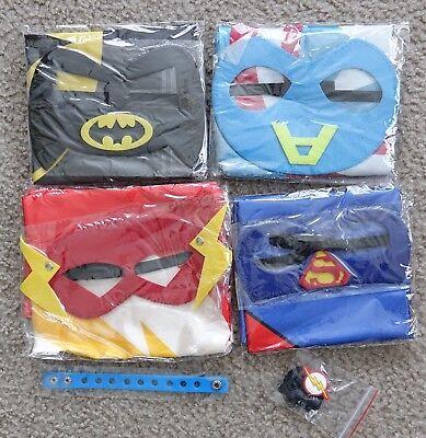 LAEGENDARY 4 Superhero Costumes for Kids:Batman,Captain America,Superman,Flash