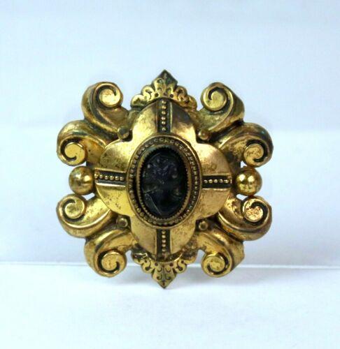 Antique Vintage Art Nouveau Black Cameo Brass Metal Brooch Ornate Design