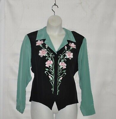 Bob Mackie Silk Floral Embroidered Weskit Blouse Size 1X Green/Black