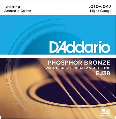 D'Addario EJ38 12-String Phosphor Bronze Light 10-47 Acoustic Guitar (Bronze Lite 12 String)