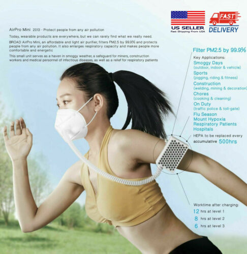 [New Packing] BROAD AirPro Electrical Air Purifying Respirator/Reusable/2 Masks