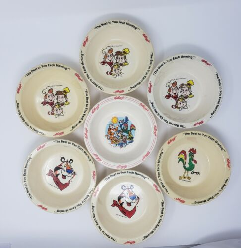 Lot of 7 Vintage Kellogg Cereal Bowls 1995 Collectible. FREE SHIPPING