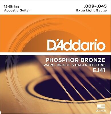 EJ41 12-String Phosphor Bronze Extra Light 9-45 DAddario Acoustic Guitar (Bronze Lite 12 String)