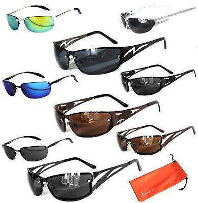 Sportliche Sonnenbrille Metall Verspiegelt Bikerbrille 100% UV400 Schmal & Cool