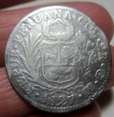 1827 GM (PERU) SILVER (2 REALES) ---- CUZCO----  RARE---