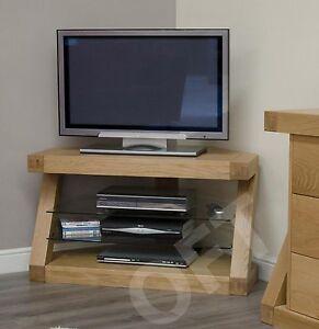Z Corner Television Stand Cabinet Unit Solid Oak Modern