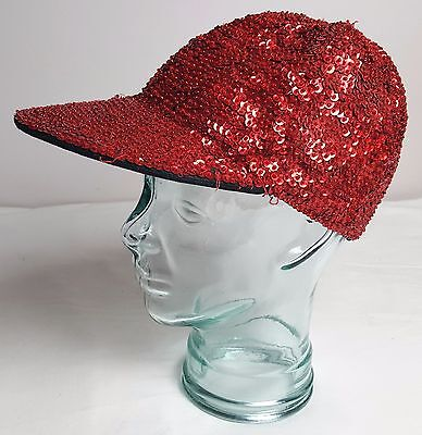 Real Sewn Sequin Covered Baseball Cap Shiny Bling Fun Silly Christmas True Red - Wacky Christmas Hats