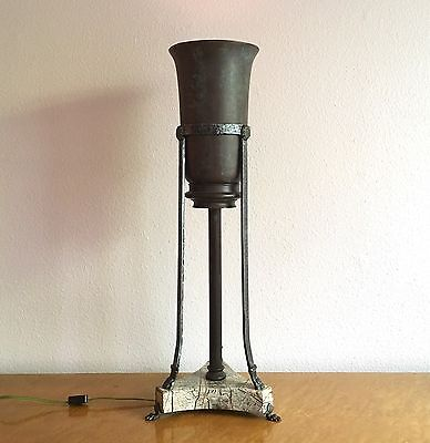 Large Early Theodore Alexander Bronze & Marble Tripod Torchiere Table Lamp 1990s ()