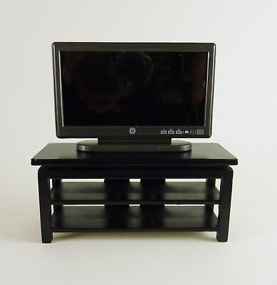 Dollhouse Miniature Wide Screen TV Stand, Black, STAND only, -